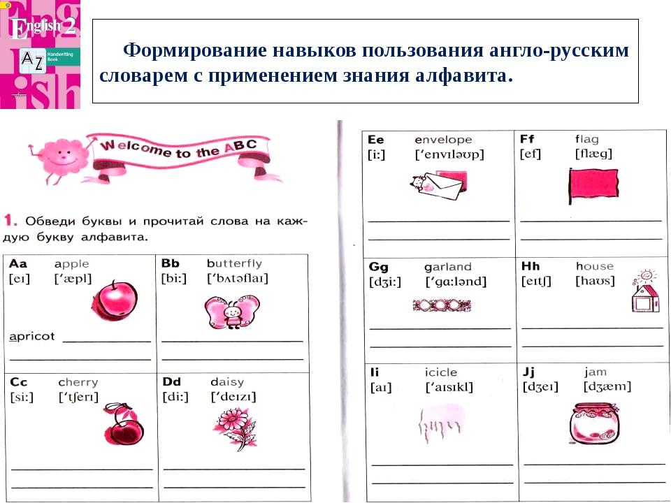 Формирование навыков пользования англо-русским словарем с применением знани...