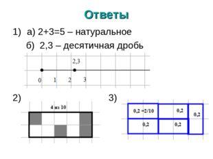 Ответы а) 2+3=5 – натуральное б) 2,3 – десятичная дробь 2) 3)