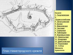 Башни: 1.Георгиевская 2.Борисоглебская 3.Зачатьевская 4.Белая 5.Ивановск