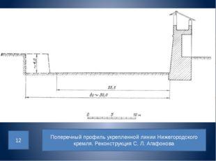 Поперечный профиль укрепленной линии Нижегородского кремля. Реконструкция С.