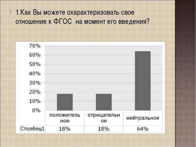 1.Как Вы можете охарактеризовать свое отношение к ФГОС на момент его введения?