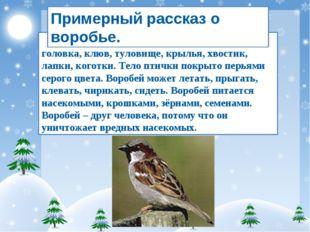 Воробей – зимующая птица. У него есть головка, клюв, туловище, крылья, хвости