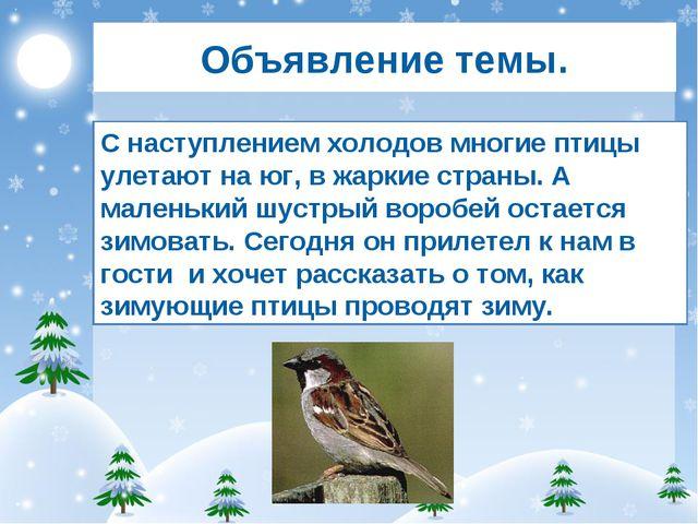 Объявление темы. С наступлением холодов многие птицы улетают на юг, в жаркие...