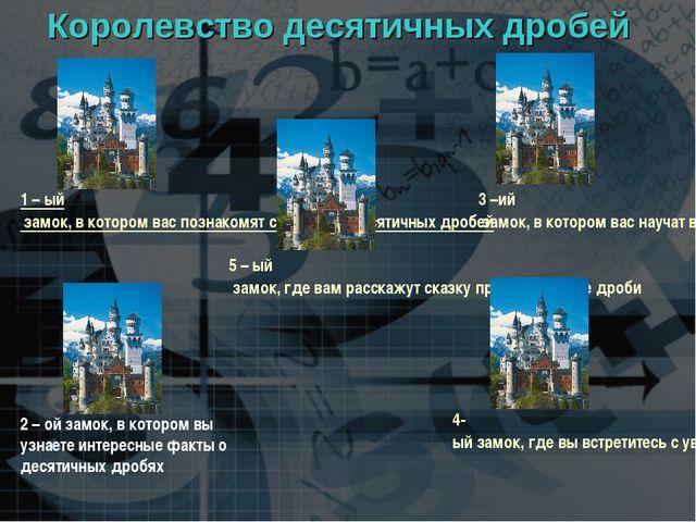 Королевство десятичных дробей 1 – ый замок, в котором вас познакомят с истори...