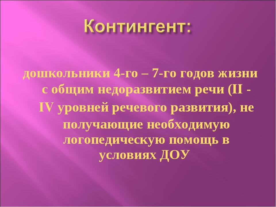 дошкольники 4-го – 7-го годов жизни с общим недоразвитием речи (II - IV уров...