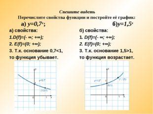 Спешите видеть Перечислите свойства функции и постройте её график: а) у=0,7х