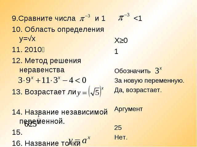 9.Сравните числа и 1 10. Область определения у=√х 11. 2010⁰ 12. Метод решения...