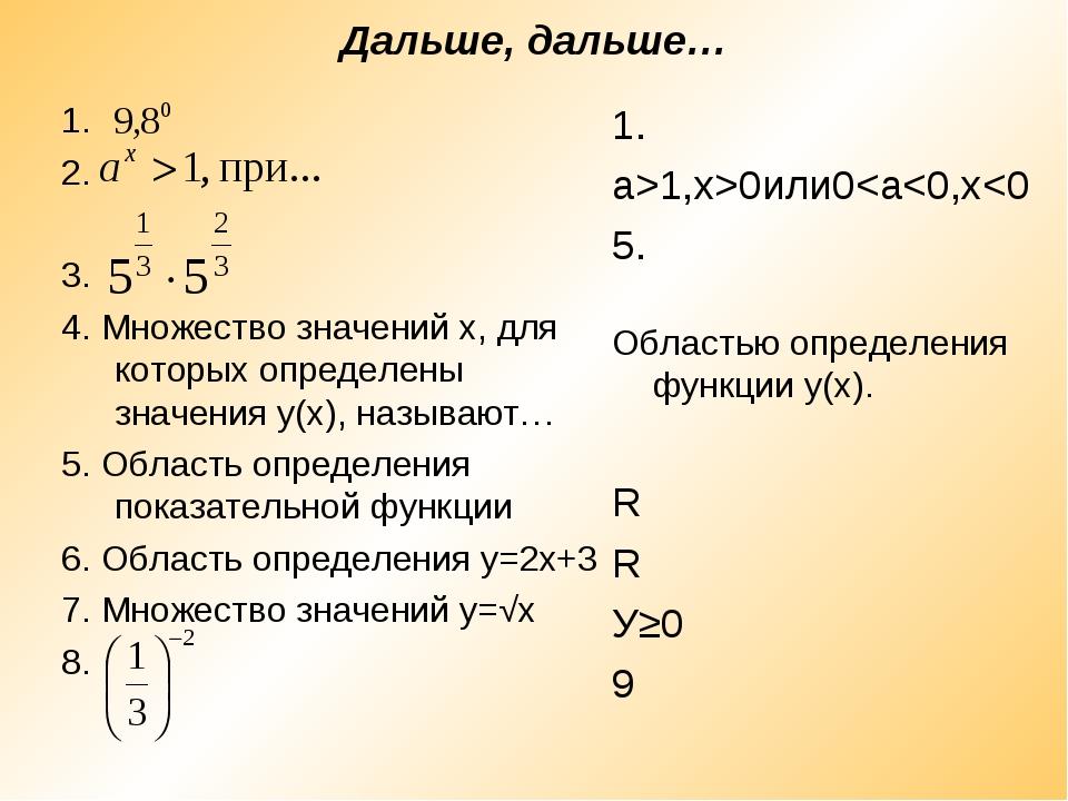 Дальше, дальше… 1. 2. 3. 4. Множество значений х, для которых определены з...