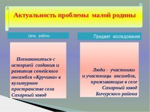 Цель работы Предмет исследования Люди - участники и участницы ансамбля, про