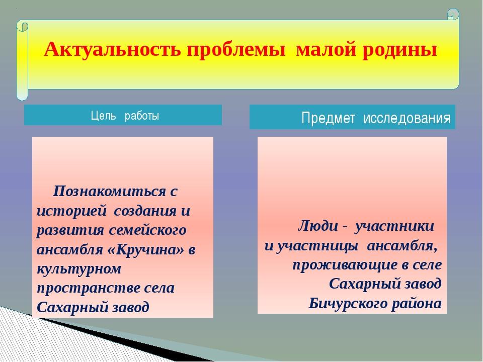 Цель работы Предмет исследования Люди - участники и участницы ансамбля, про...