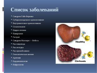 Список заболеваний Синдром Гайе-Вернике Субарахноидальное кровоизлияние Внутр
