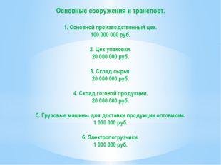 Основные сооружения и транспорт. 1. Основной производственный цех. 100 000 00