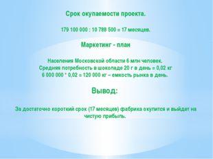 Срок окупаемости проекта. 179 100 000 : 10 788 500 = 17 месяцев. Маркетинг -