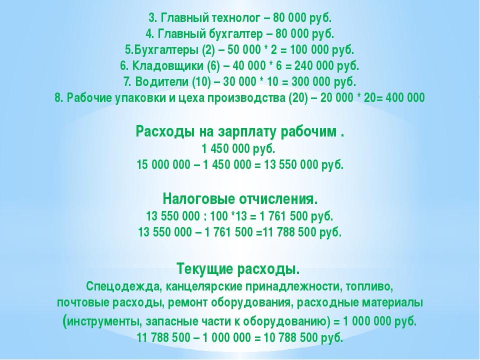 3. Главный технолог – 80 000 руб. 4. Главный бухгалтер – 80 000 руб. 5.Бухгал...
