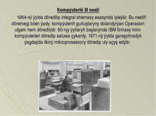 Kompýuteriň III nesli  1964-nji ýylda döredilip integral shemasy esasynd