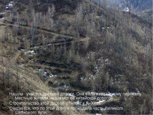 Нашли участок древней дороги. Она вела к китайскому перевалу. Местные жители