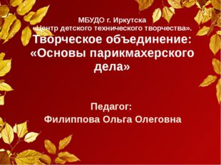 МБУДО г. Иркутска «Центр детского технического творчества». Творческое объеди