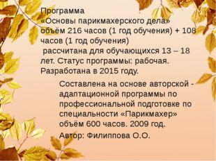 Программа «Основы парикмахерского дела» объём 216 часов (1 год обучения) + 10