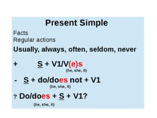 Present Simple Facts Regular actions Usually,always, often, seldom, never +S+