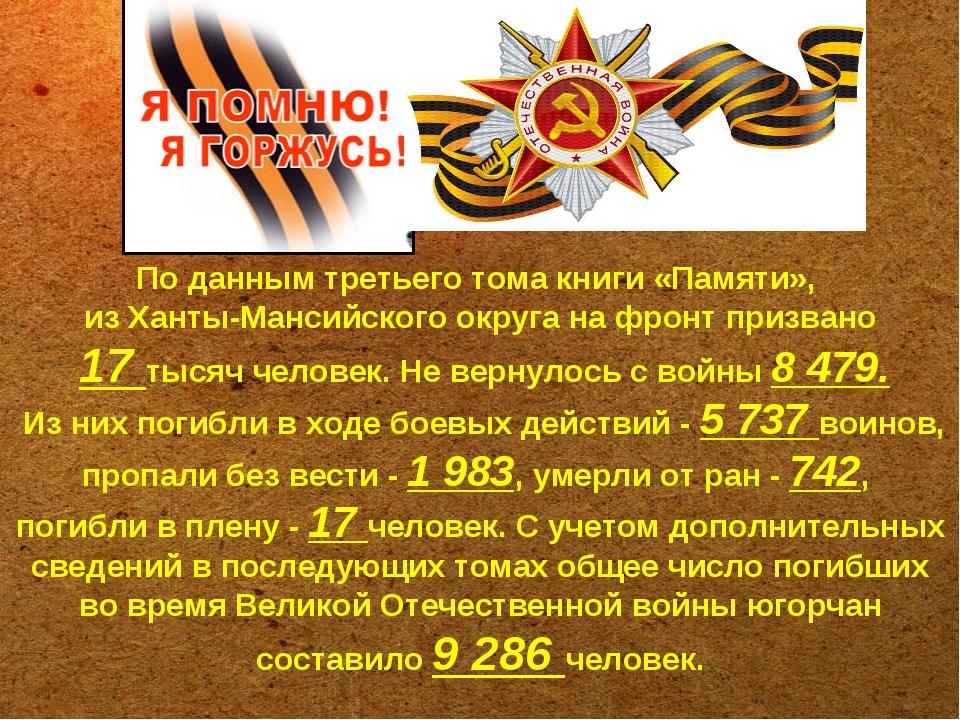 По данным третьего тома книги «Памяти», из Ханты-Мансийского округа на фронт...