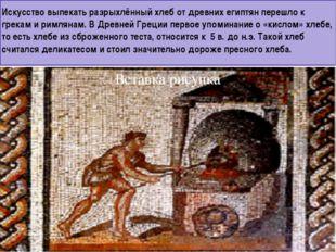 Искусство выпекать разрыхлённый хлеб от древних египтян перешло к грекам и ри