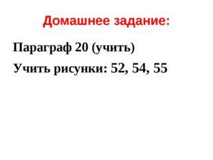 Домашнее задание: Параграф 20 (учить) Учить рисунки: 52, 54, 55