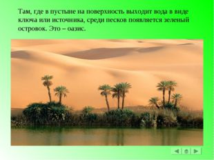 Там, где в пустыне на поверхность выходит вода в виде ключа или источника, ср