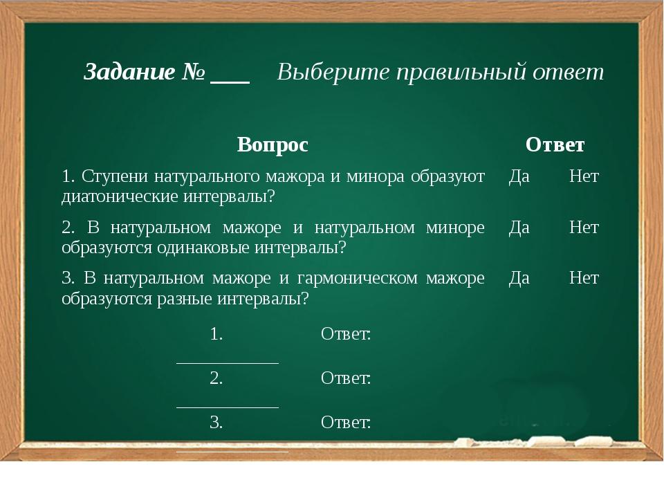 Задание № ___ Выберите правильный ответ 1. Ответ: ___________ 2. Ответ: ____...