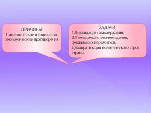 ПРИЧИНЫ 1.политические и социально-экономические противоречия ЗАДАЧИ 1.Ликвид