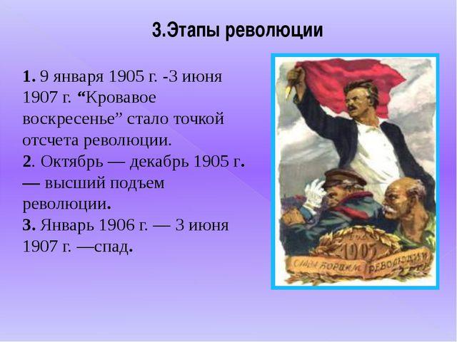 """3.Этапы революции 1. 9 января 1905 г. -3 июня 1907 г. """"Кровавое воскресенье""""..."""