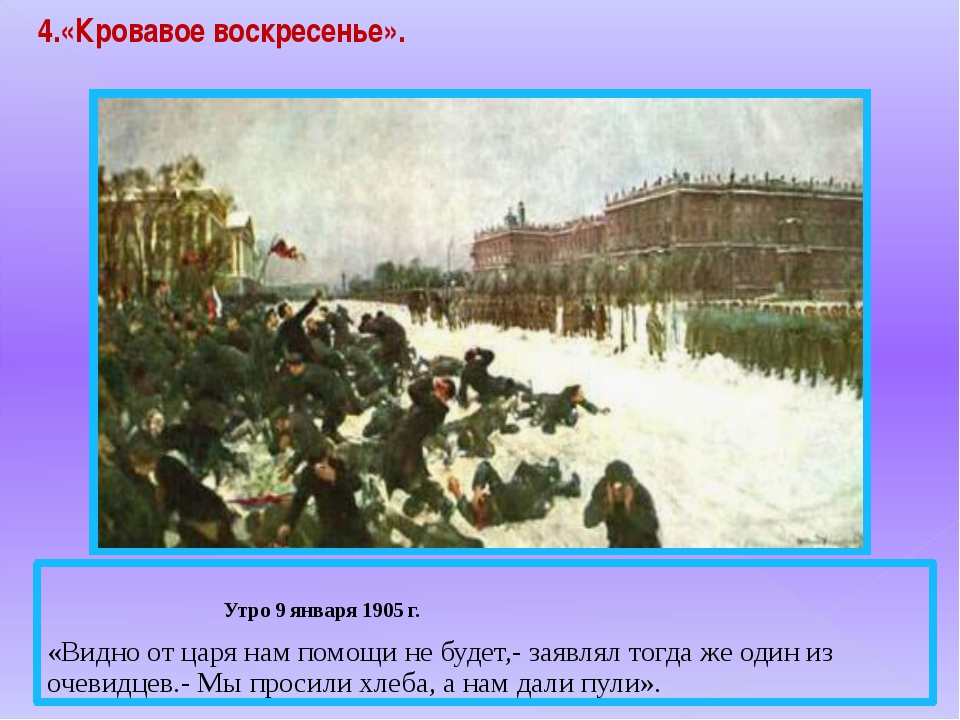 4.«Кровавое воскресенье». Утро 9 января 1905 г. «Видно от царя нам помощи не...