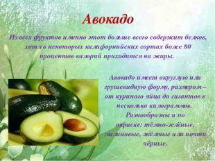 Авокадо Из всех фруктов именно этот больше всего содержит белков, хотя в нек
