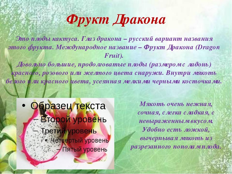 Фрукт Дракона Это плоды кактуса. Глаз дракона – русский вариант названия это...