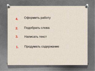 Оформить работу Подобрать слова Написать текст Продумать содержание 1. 2. 3. 4.