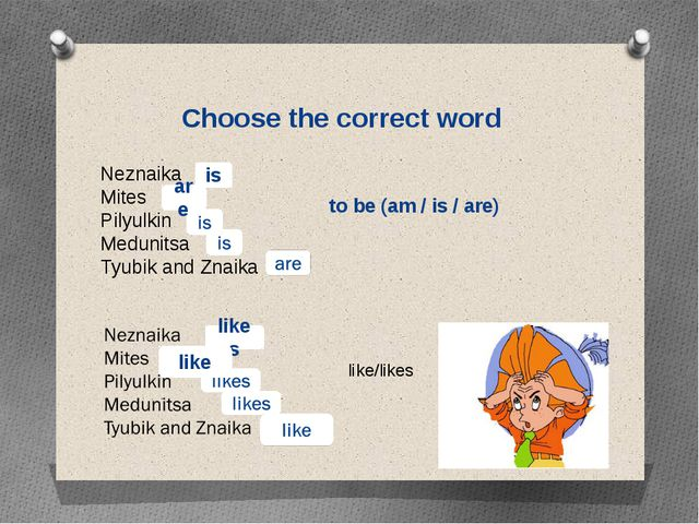 Choose the correct word Neznaika Mites Pilyulkin Medunitsa Tyubik and Znaika...