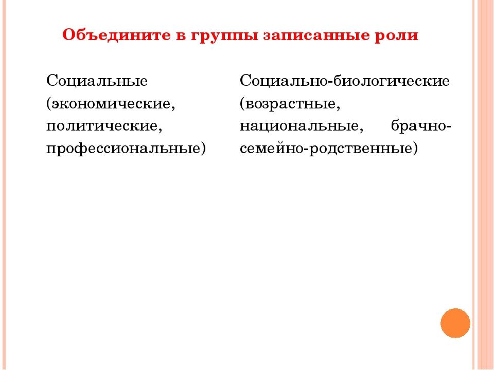 Объедините в группы записанные роли Социальные (экономические, политические,...