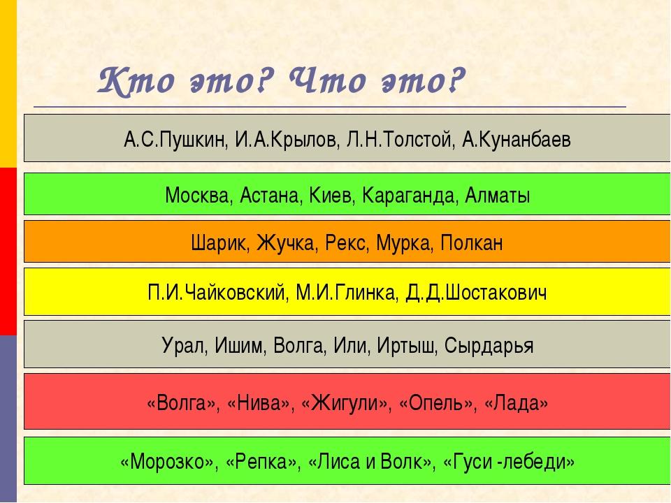 Кто это? Что это? А.С.Пушкин, И.А.Крылов, Л.Н.Толстой, А.Кунанбаев Москва, А...