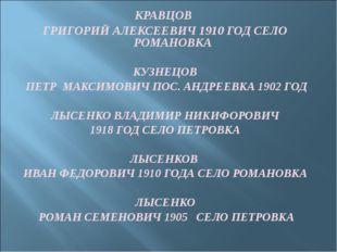 КРАВЦОВ ГРИГОРИЙ АЛЕКСЕЕВИЧ 1910 ГОД СЕЛО РОМАНОВКА КУЗНЕЦОВ ПЕТР МАКСИМОВИЧ
