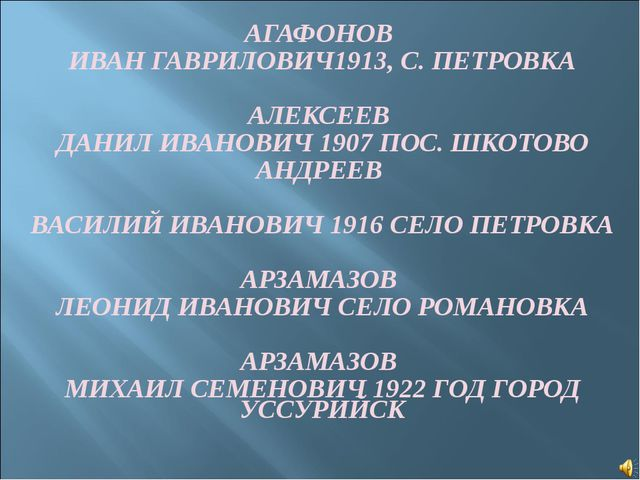 АГАФОНОВ ИВАН ГАВРИЛОВИЧ1913, С. ПЕТРОВКА АЛЕКСЕЕВ ДАНИЛ ИВАНОВИЧ 1907 ПОС. Ш...