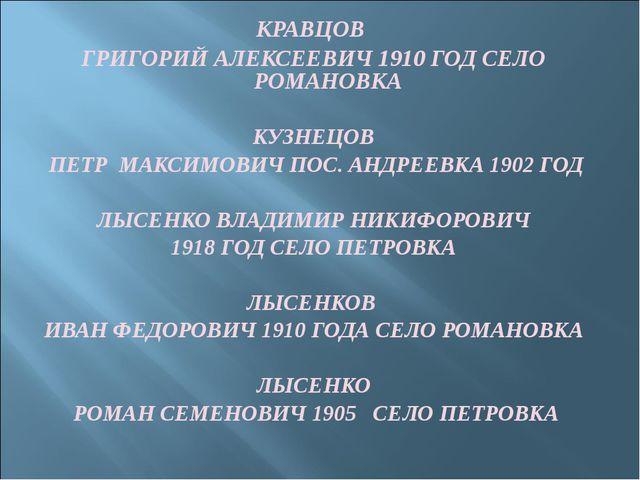 КРАВЦОВ ГРИГОРИЙ АЛЕКСЕЕВИЧ 1910 ГОД СЕЛО РОМАНОВКА КУЗНЕЦОВ ПЕТР МАКСИМОВИЧ...