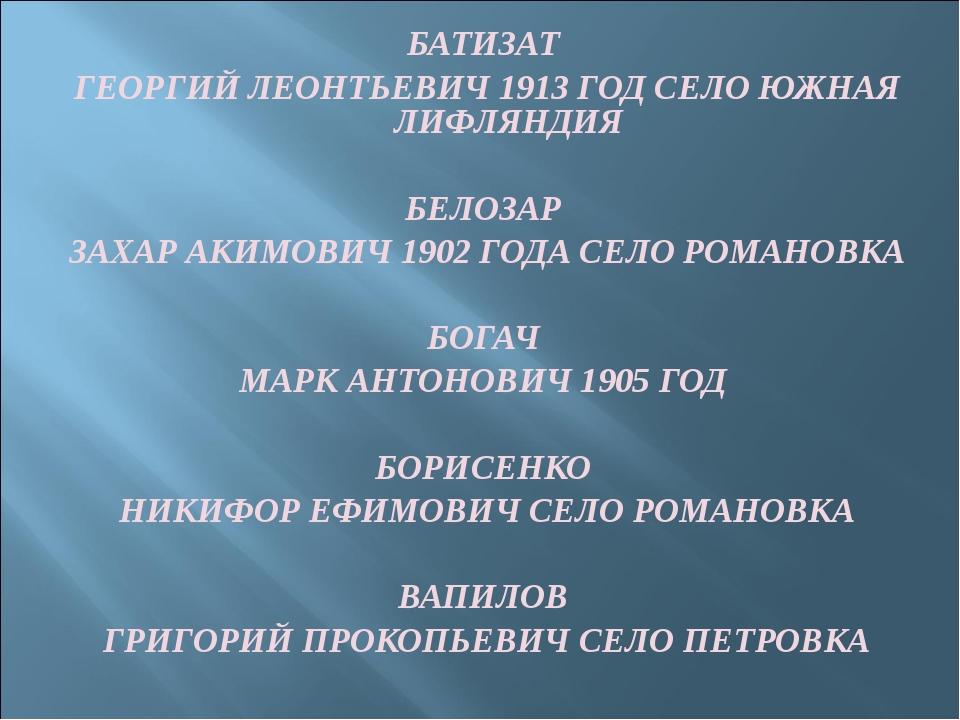 БАТИЗАТ ГЕОРГИЙ ЛЕОНТЬЕВИЧ 1913 ГОД СЕЛО ЮЖНАЯ ЛИФЛЯНДИЯ БЕЛОЗАР ЗАХАР АКИМОВ...