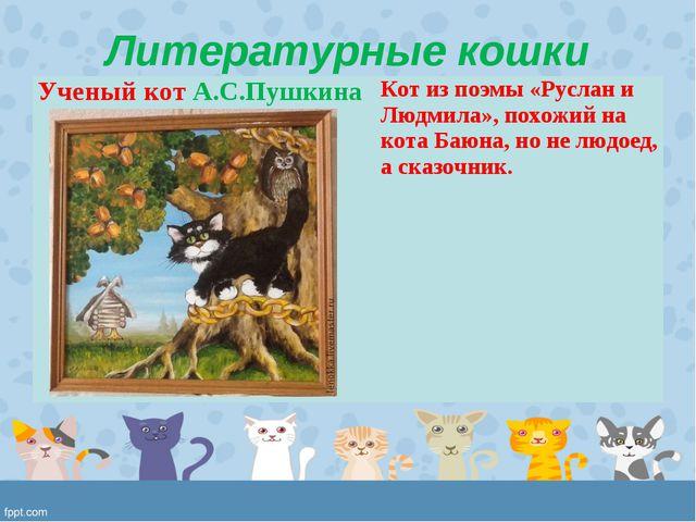 Литературные кошки Ученый кот А.С.ПушкинаКот из поэмы «Руслан и Людмила», по...