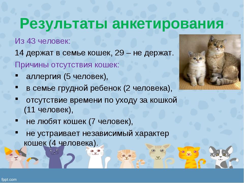 Результаты анкетирования Из 43 человек: держат в семье кошек, 29 – не держат....