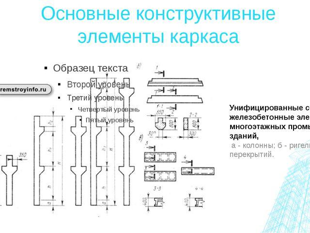 Основные конструктивные элементы каркаса Унифицированные сборные железобетонн...