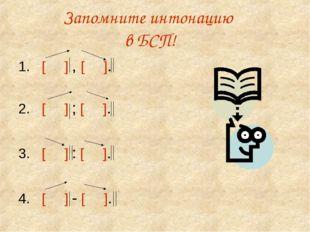 Запомните интонацию в БСП! 1. [ ] , [ ]. 2. [ ] ; [ ]. 3. [ ] : [ ]. 4. [ ] -