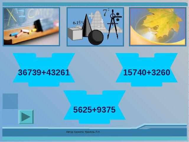 Автор проекта: Крагель Л.Н. 80000 36739+43261 19000 15740+3260 15000 5625+937...