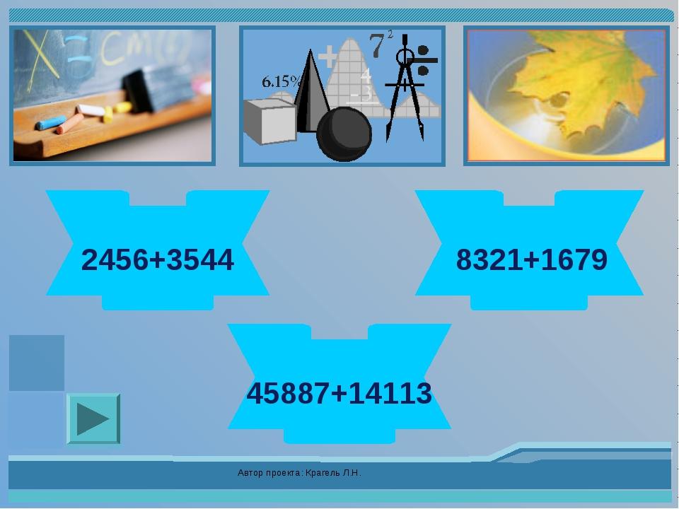 Автор проекта: Крагель Л.Н. 6000 2456+3544 10000 8321+1679 60000 45887+14113...