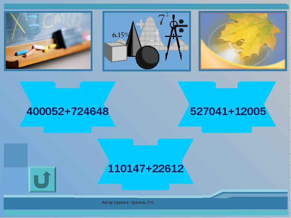 Автор проекта: Крагель Л.Н. 1124700 400052+724648 539046 527041+12005 132759...