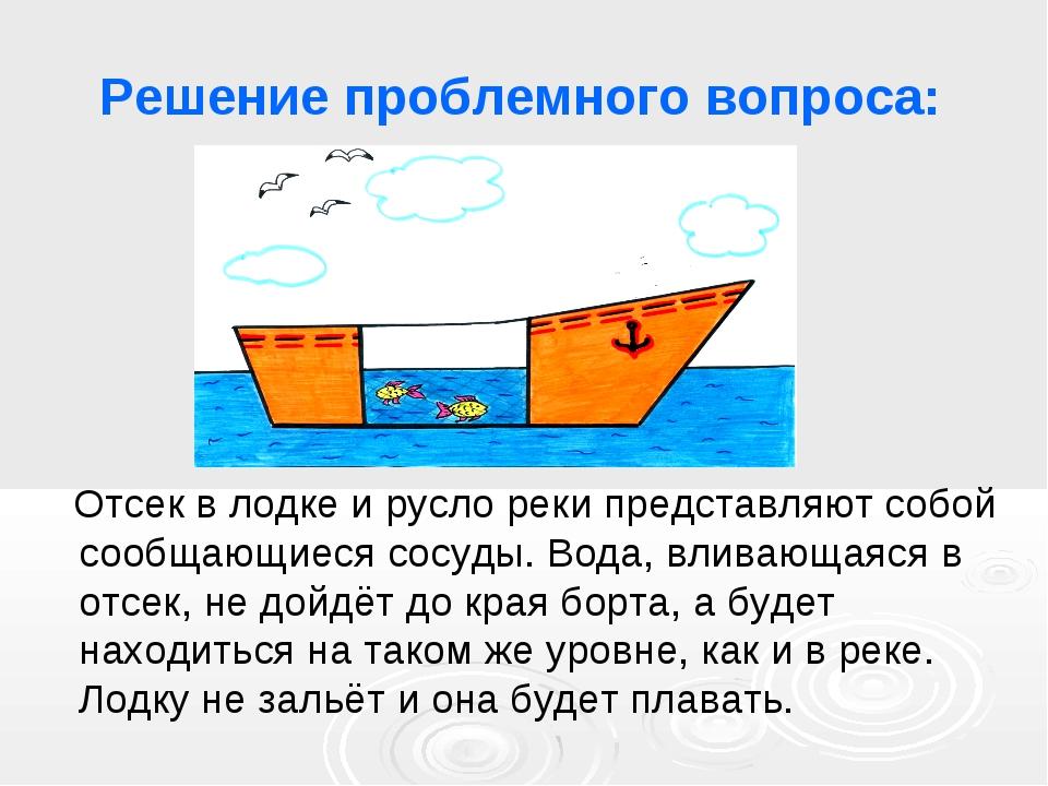 Решение проблемного вопроса: Отсек в лодке и русло реки представляют собой со...