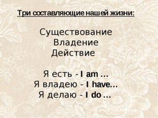 Три составляющие нашей жизни: Существование Владение Действие Я есть - I am …